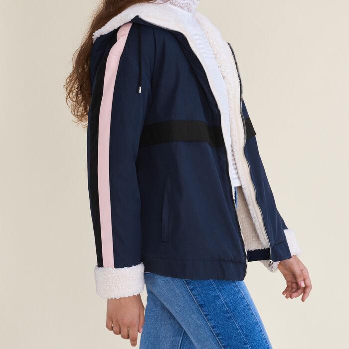 Two-tone cropped parka - Coats - MAJE
