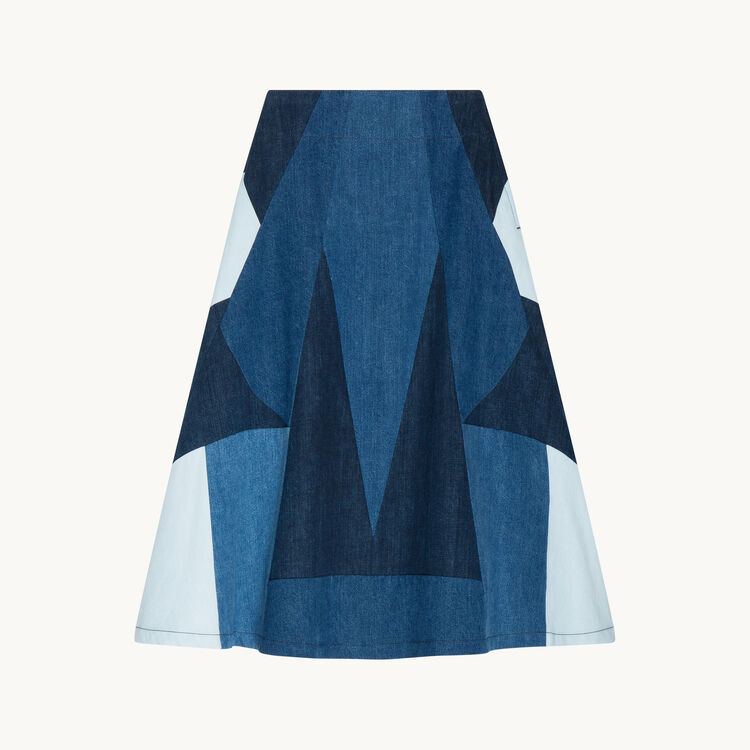Denim flared skirt : Skirts & Shorts color Denim