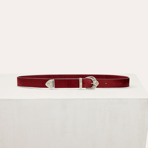 Scalloped buckle leather belt : Belts color Burgundy