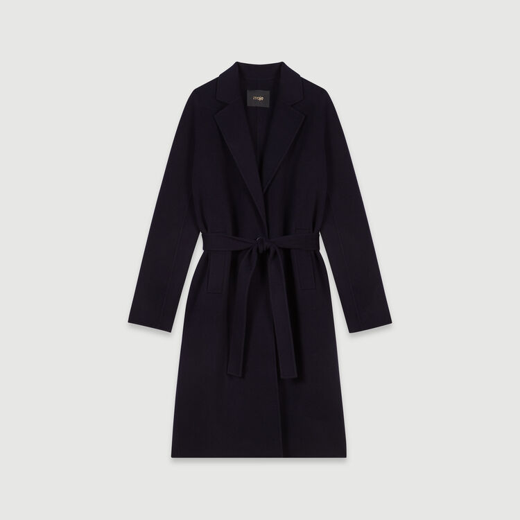 Belted double face coat : Coats & Jackets color Navy