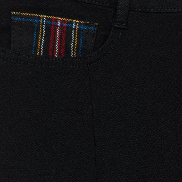Straight jean with tartan detail : Tartan color Black 210