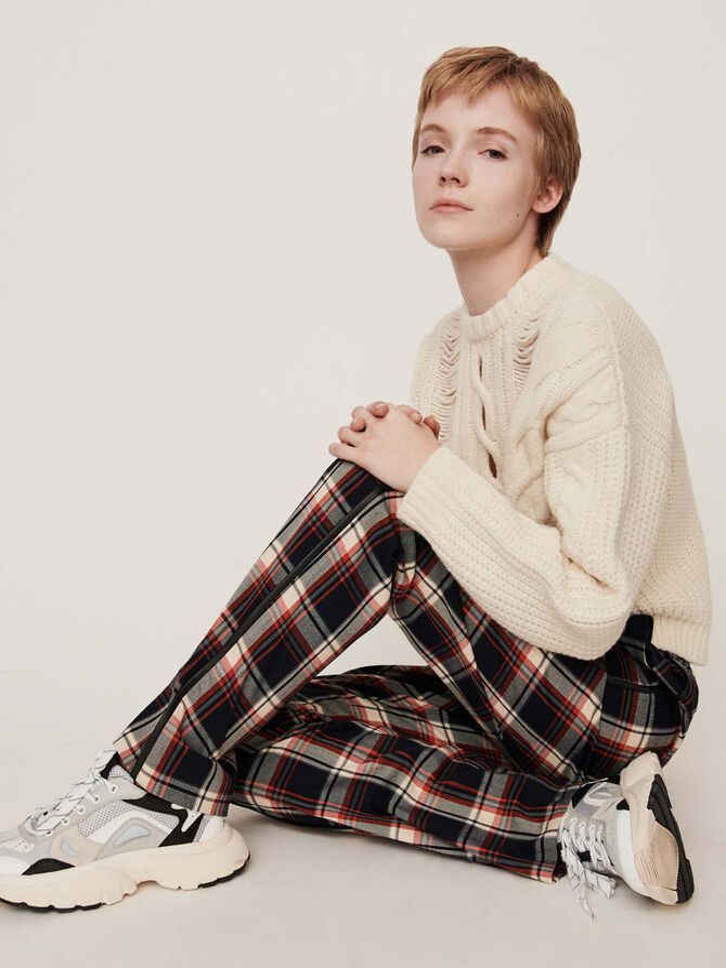Elasticated plaid pants - Trousers & Jeans - MAJE