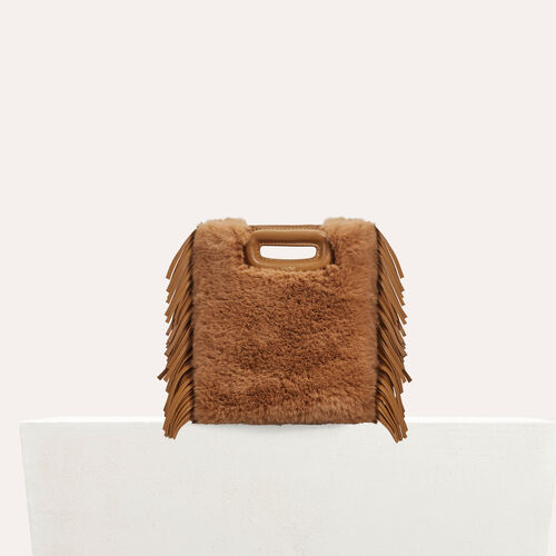 Mini M bag in leather with novelty fur : Leather color Beige