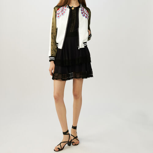 Embroidered satin bomber jacket : Jackets color Khaki