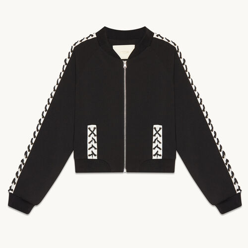 Bomber jacket with lacing - null - MAJE