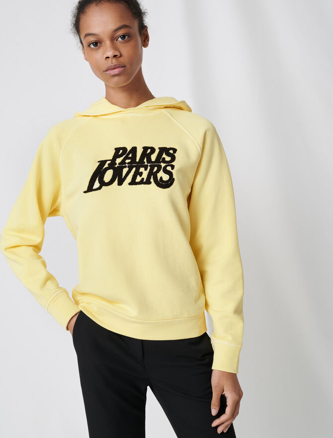 Embroidered yellow sweatshirt - Pullovers & Cardigans - MAJE