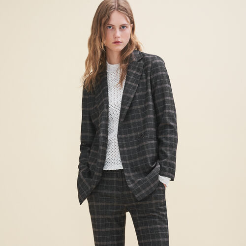 Long tartan jacket : Jackets & Blazers color Jacquard
