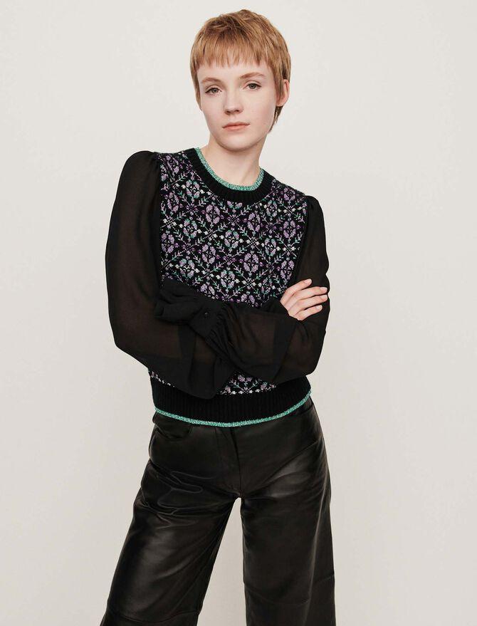 Fancy trompe-l'oeil sweater - Pullovers & Cardigans - MAJE