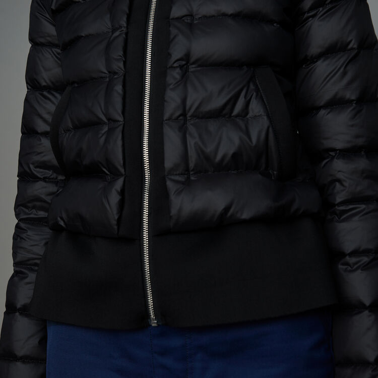 Lightweight down jacket with peplum : Ready to wear color Black 210