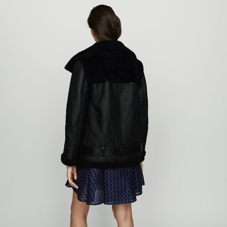Biker jacket in shearling : Jackets color Black 210