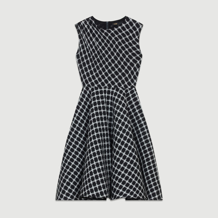 Sleeveless plaid skater dress : Dresses color CARREAUX