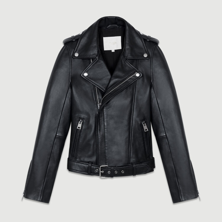 Belted biker jacket in puffed leather : Jackets color Black 210