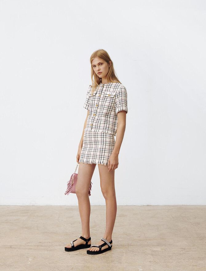 Tweed-style top with fringing - Tops & Shirts - MAJE
