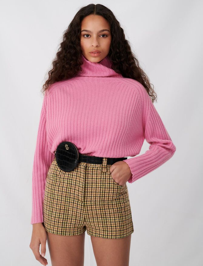 Checked shorts with button details - Skirts & Shorts - MAJE
