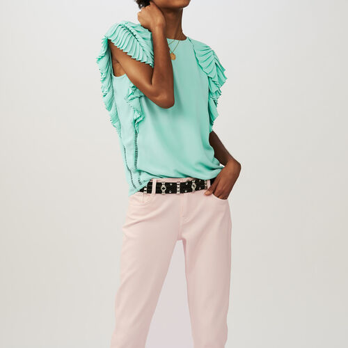Top with pleated sleeves : Tops color GREEN