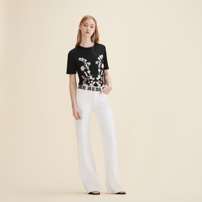Embroidered T-shirt -  - MAJE