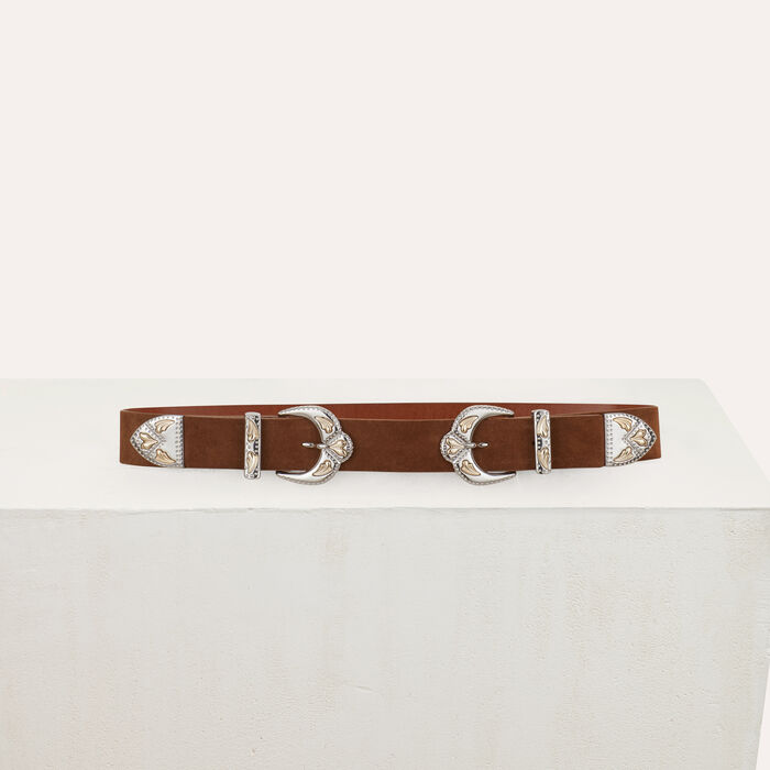 Double-buckle belt in leather : Belts color Camel