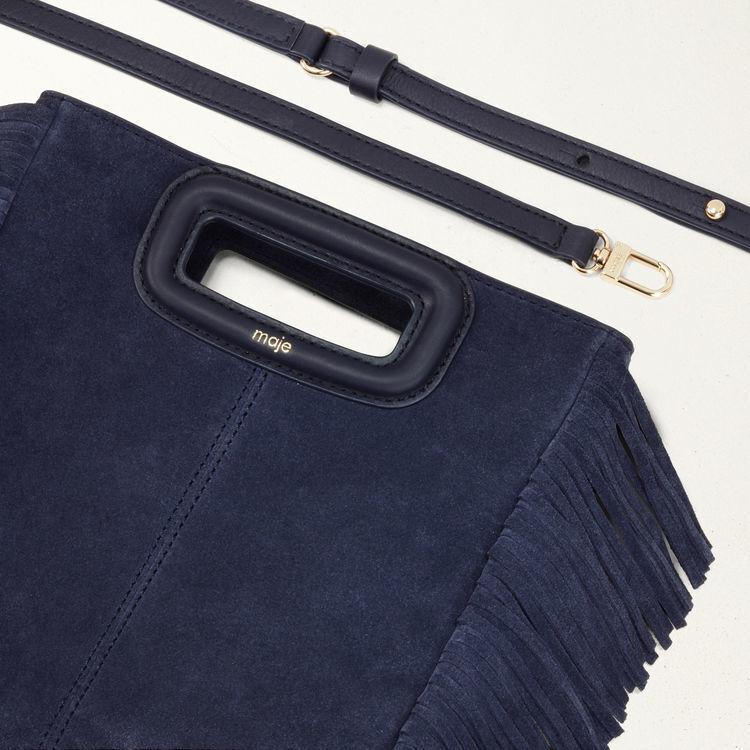 M bag with suede fringes : M bag color Navy