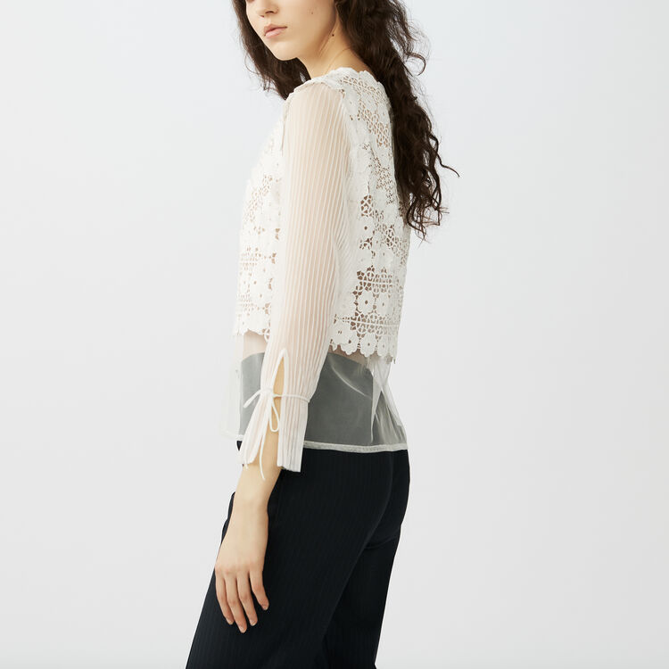 Lace tulle top : Party time color ECRU