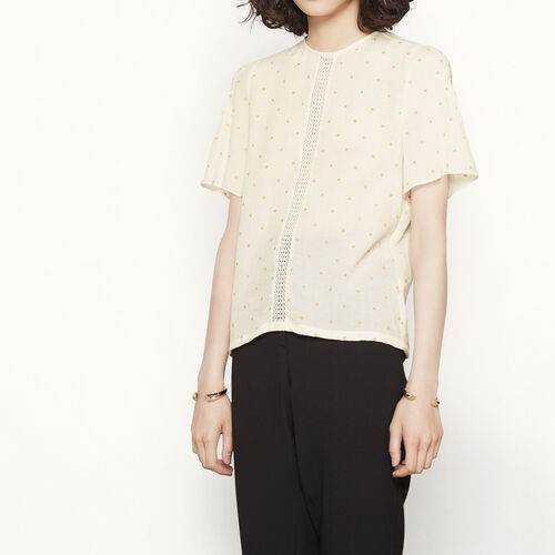 Top with embroidered stars : Tops color Ecru