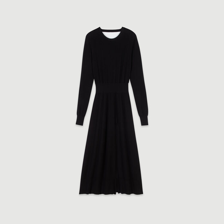 Split and reversible knit dress : Winter collection color Black