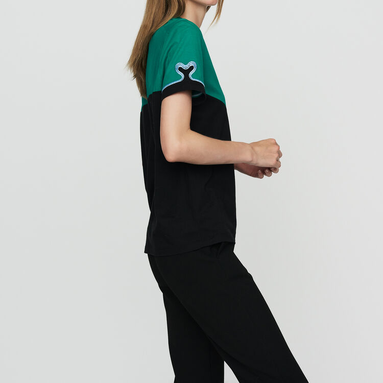 Bicolor cotton embroidered T-shirt : T-Shirts color Multico