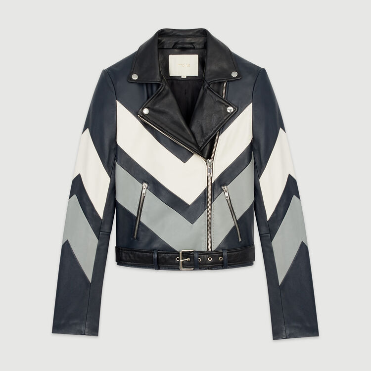 Leather jacket with cutouts : Jackets color Multico
