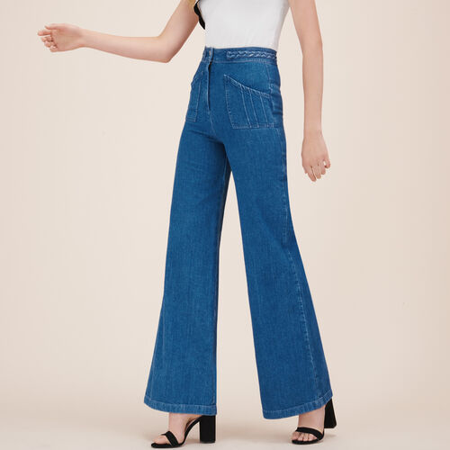 Wide-leg jeans with woven detail - null - MAJE