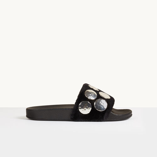 Shearling mules with studs - Shoes - MAJE