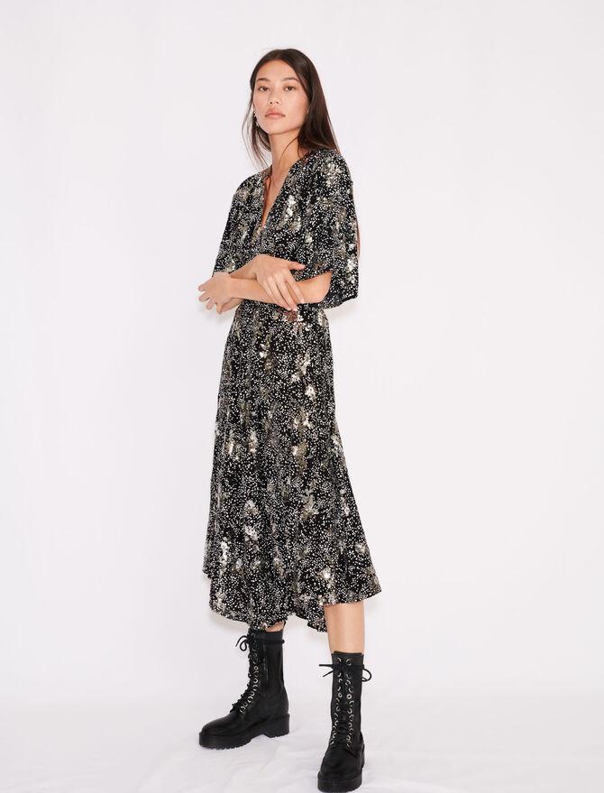 Printed crêpe sequin dress - Dresses - MAJE