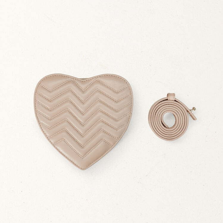 Quilted leather heart saddlebag : Bags color Nude