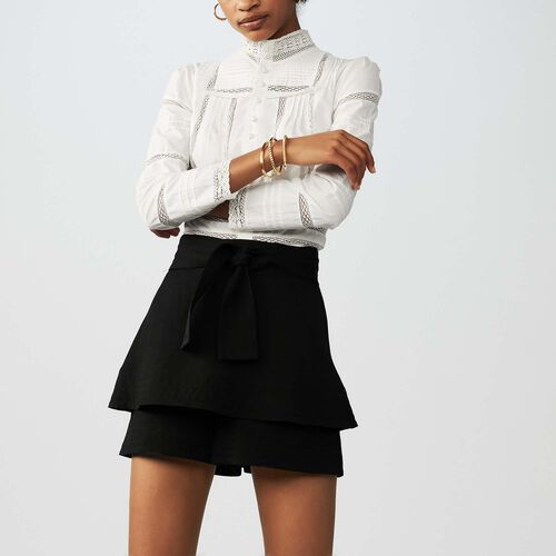 Linen-blend skort : Skirts & Shorts color Black 210