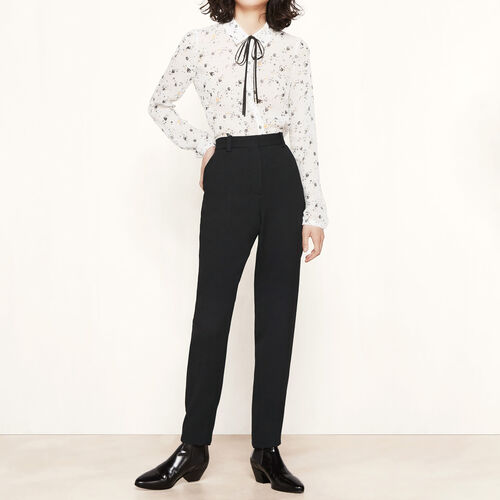Straight crêpe trousers : Trousers & Jeans color Black 210