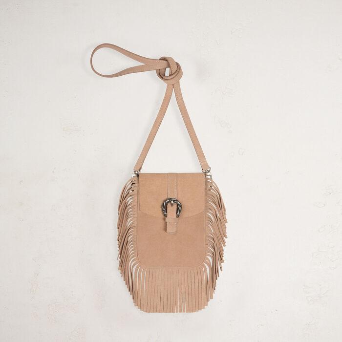 Suede shoulder bag with fringes - Shoulder bag - MAJE