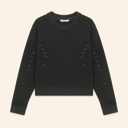 Sweatshirt with eyelets : Sweaters & Cardigans color Black 210