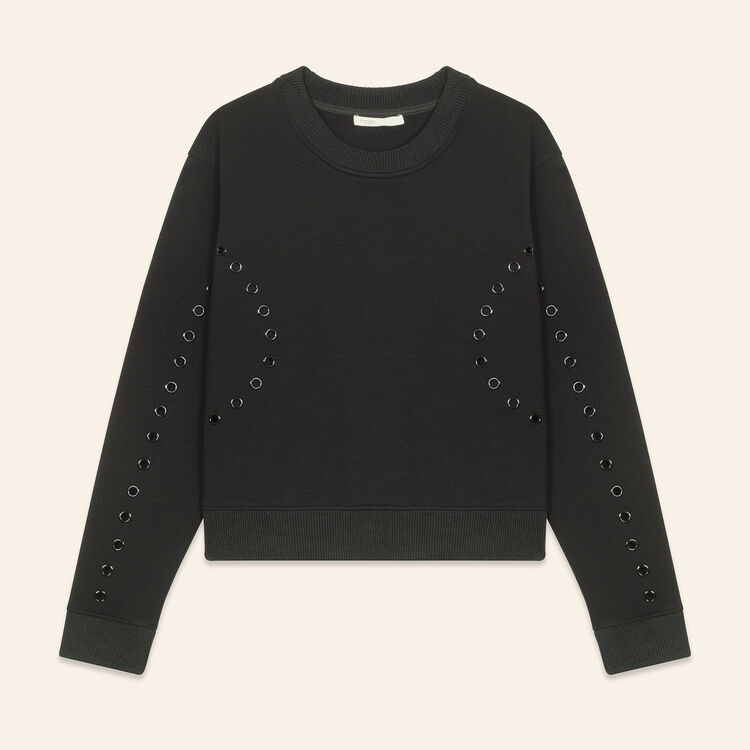 Sweatshirt with eyelets : Knitwear color Black 210