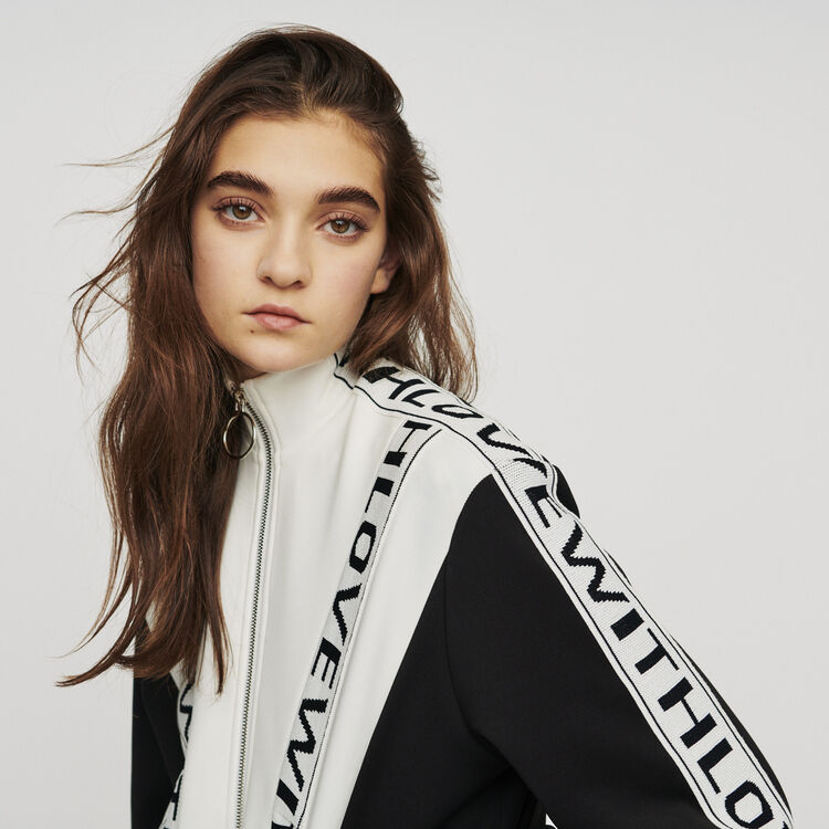 Zipped sweatshirt with slogan band : Pullovers & Cardigans color BLACK