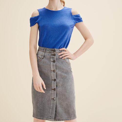 Denim pencil skirt : See all color Grey