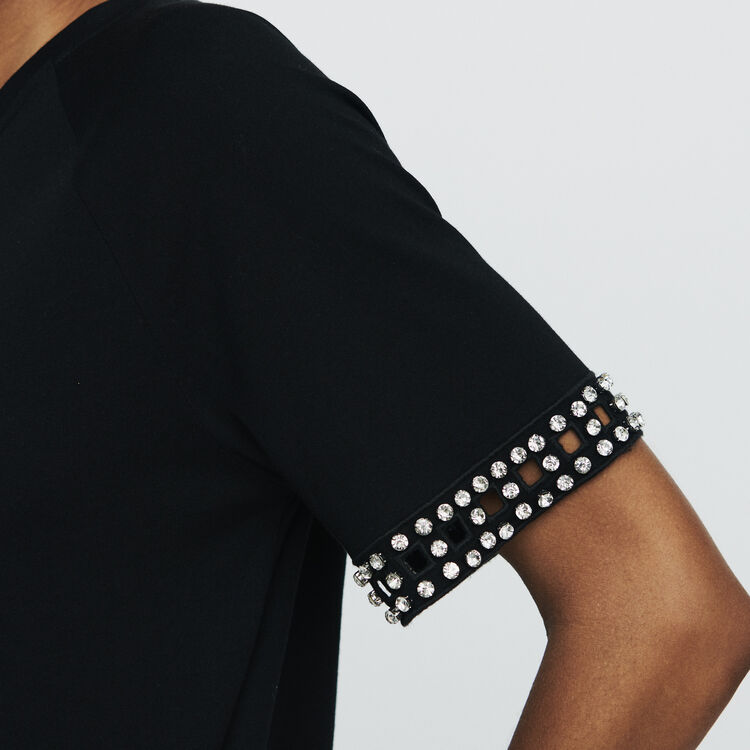 Open-work T-shirt with rhinestone : T-Shirts color BLACK