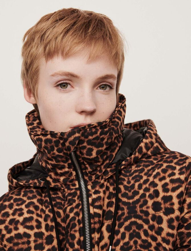 Printed puffer with hood - Coats & Jackets - MAJE