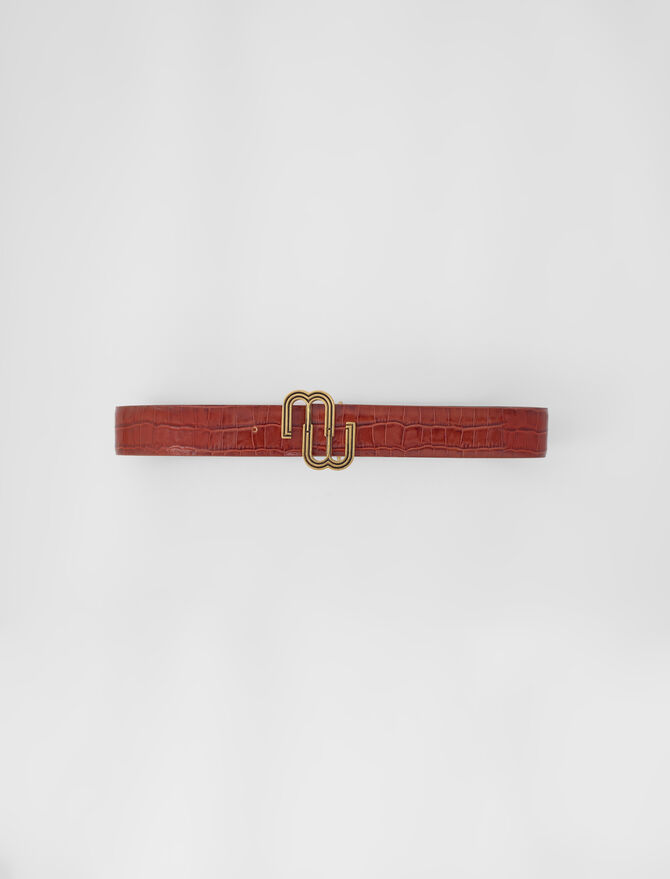 Croc-effect leather double M belt -  - MAJE