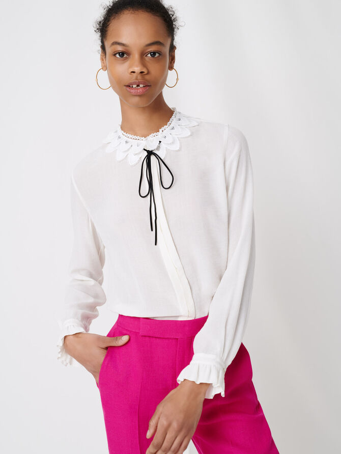 Guipure collar shirt and velvet link -  - MAJE