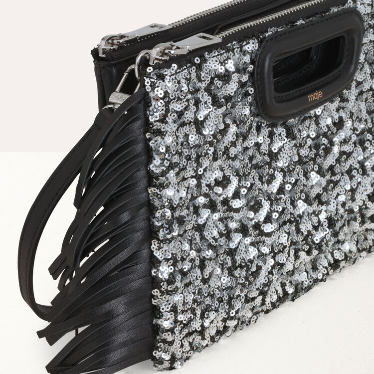 M Duo clutch in sequined leather : M Duo color Black 210