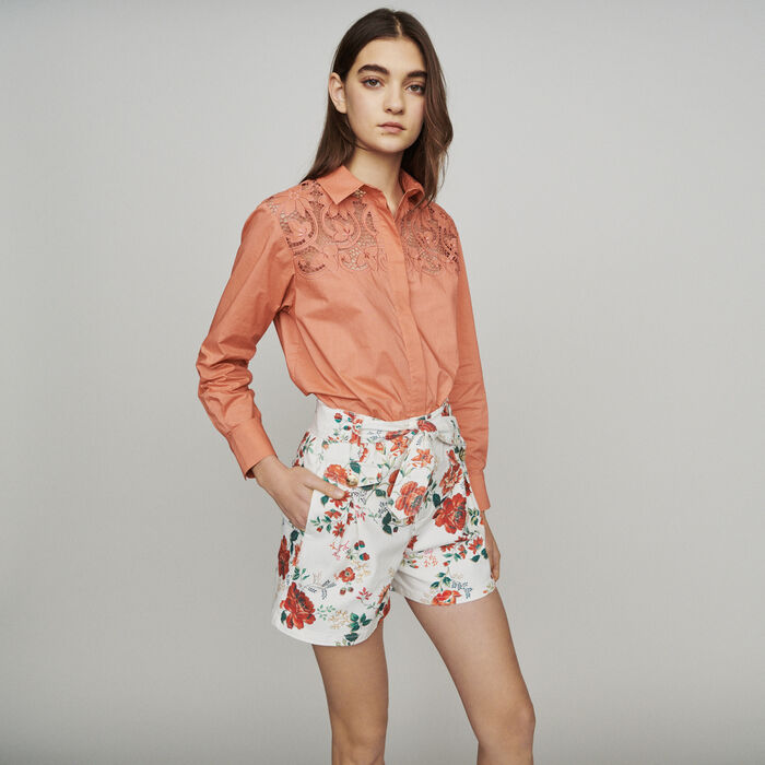 Floral-print denim shorts : New in : Summer Collection color PRINTED