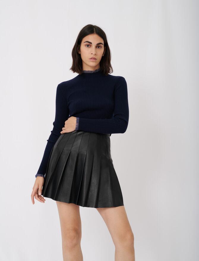 Pleated leather skirt - Eco-friendly - MAJE