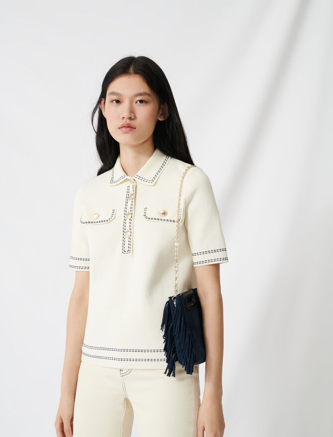 Short-sleeved polo-style jumper - Pullovers & Cardigans - MAJE