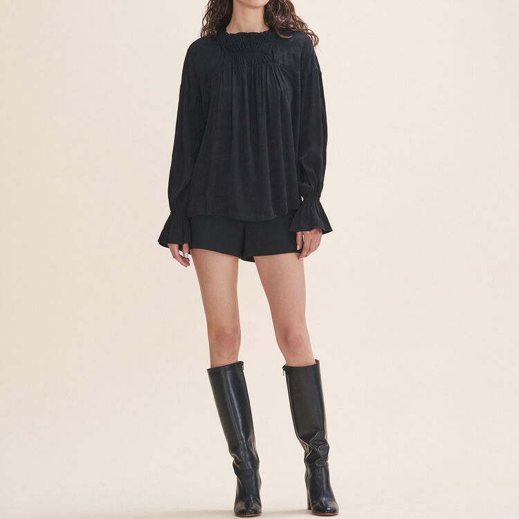 Floaty gathered top : Tops color Black 210