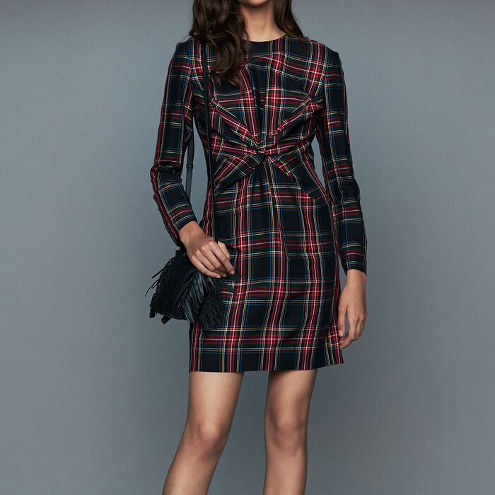 Draped plaid dress : Dresses color CARREAUX