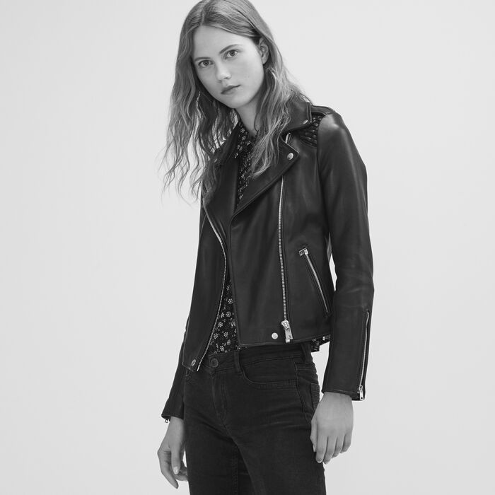 Leather jacket with woven detailing -  - MAJE