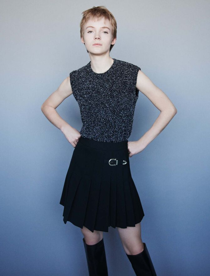 Pleated kilt-style skirt with buckle - Pre_Soldes_Jupes_Shorts - MAJE